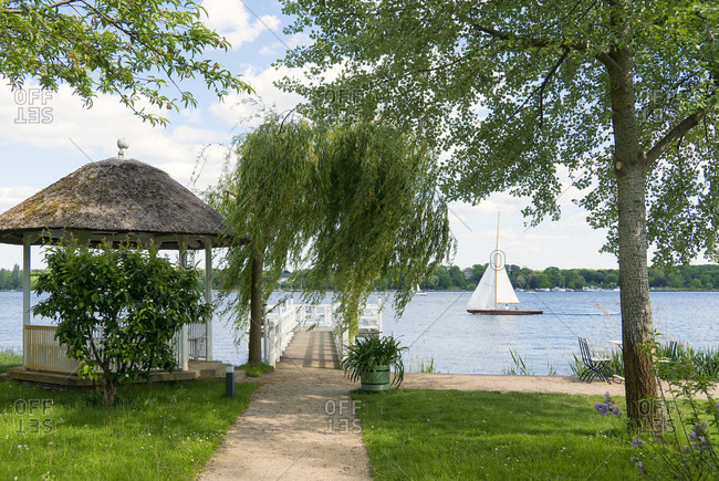Berlin, Wannsee, Liebermann Villa, garden, pavilion, sailing boat