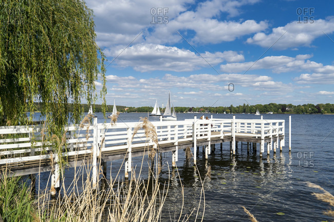 Berlin, Wannsee, jetty, sailing boats