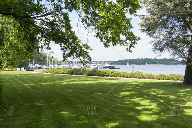 Berlin, Wannsee, House of the Wannsee Conference, park, view of the sailing port
