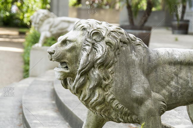 Berlin, Wannsee, House of the Wannsee Conference, garden, lion sculpture