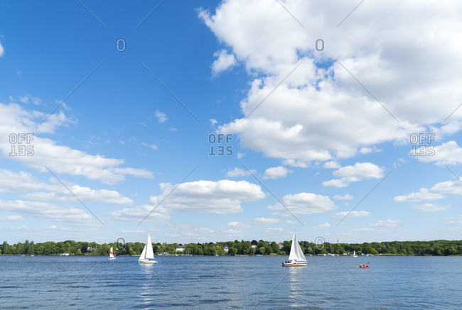 Berlin, Wannsee, boats, clouds, sky