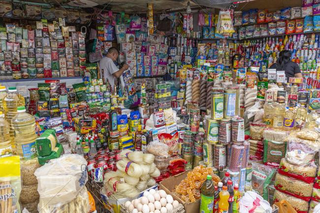 August 9, 2019: Stalls in the Osh Bazaar, Bishkek, Kyrgyzstan