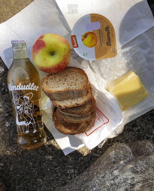 August 27, 2019: Apple, picnic, bread, cheese, yogurt