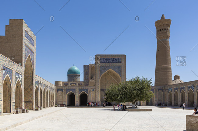 August 24, 2019: Poikalon complex, Kalon minaret, Bukhara, Uzbekistan