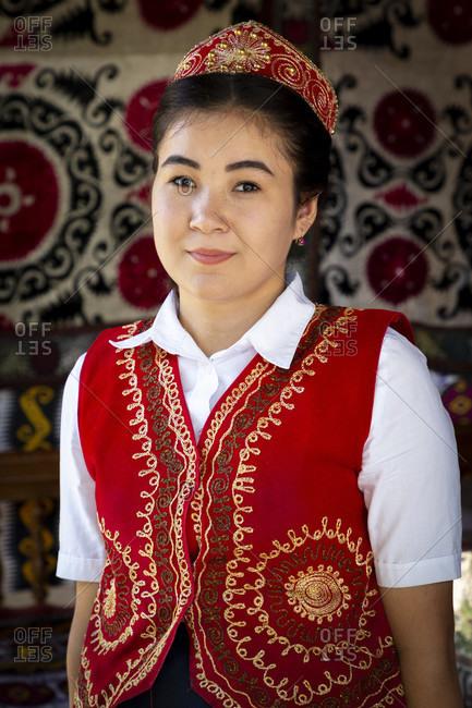 August 22, 2019: Young woman, Samarkand, Uzbekistan