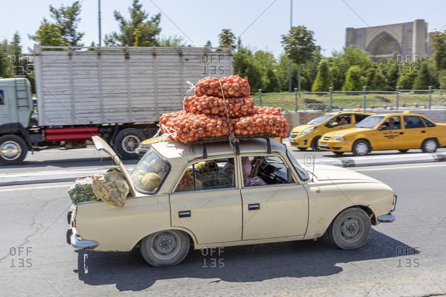 August 22, 2019: Vegetable transport by car, Samarkand
