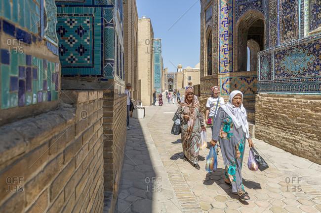August 22, 2019: Shahi Zinda necropolis, Samarkand, Uzbekistan