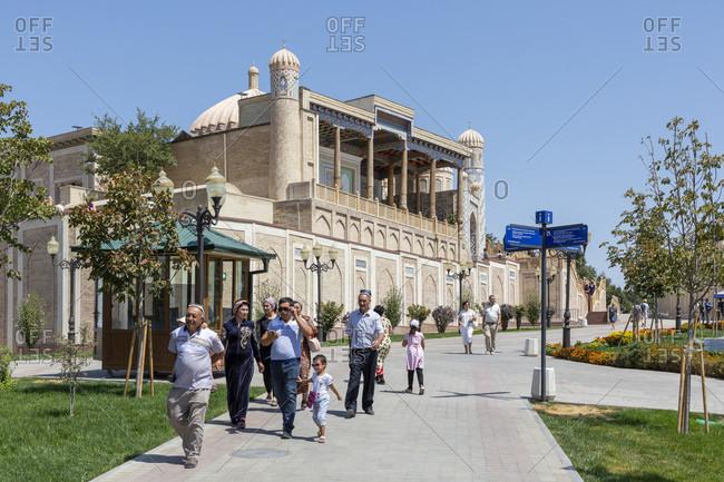 August 22, 2019: Chidr Mosque, Hazrati Xizr masjidi, Islom Karimov Kladbishche, President Tomb, Samarkand
