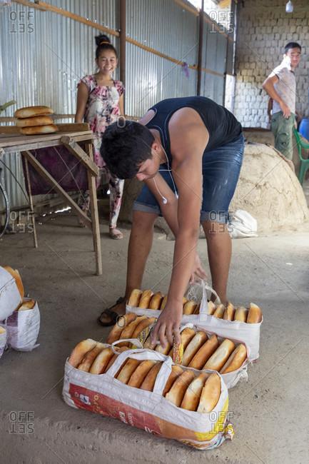 August 22, 2019: Bread bakery, Samarkand, Uzbekistan