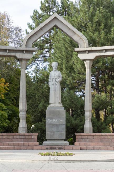 August 17, 2019: Monument of Kurmanjan Datka, Oak Park, Bishkek, Kyrgyzstan