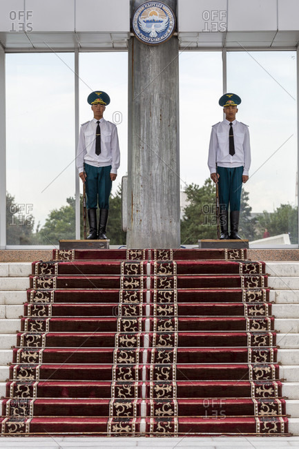 August 17, 2019: Guards and changing of the guard on the north side of Alatoo Square, Bishkek, Kyrgyzstan