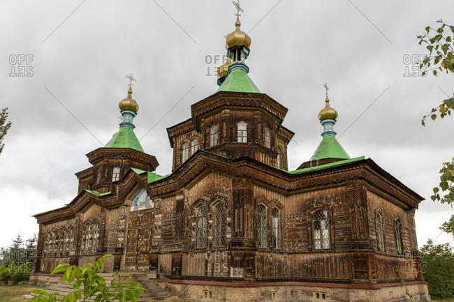August 16, 2019: Holy Trinity Cathedral, Russian Orthodox Church, Karakol, Kyrgyzstan