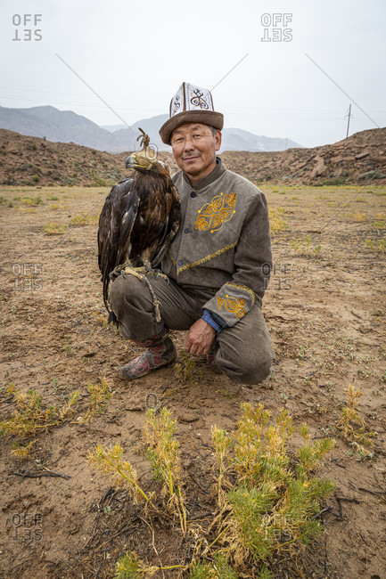 August 14, 2019: In Kyrgyzstan, falconers traditionally hunt with golden eagles, Terskej Alatau Mountains, Kyrgyzstan