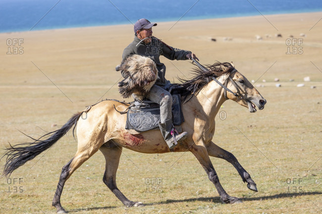 August 11, 2019: Buzkaschi is a traditional equestrian game in Afghanistan and other Persian and Turkic-speaking parts of Central Asia.
