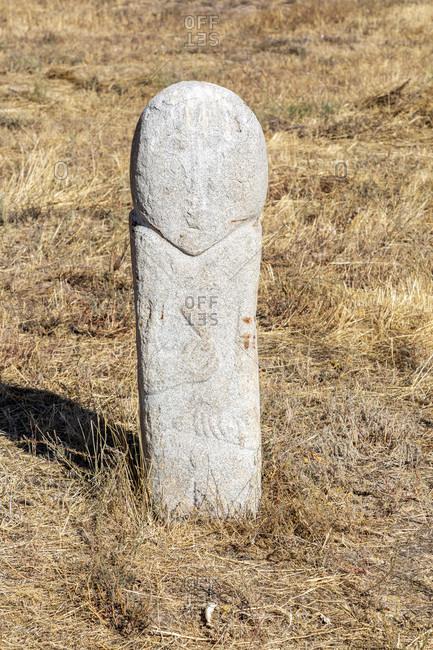 August 10, 2019: Balbals, stone figure, tomb guard for deceased rulers, Burana, Kyrgyzstan