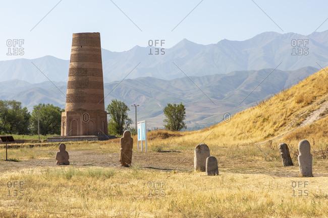 August 10, 2019: Balbals, stone figure, tomb guard for deceased rulers, Burana minaret, Kyrgyzstan