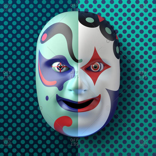 Asian theater mask with colored ornaments against a blue-turquoise dotted background