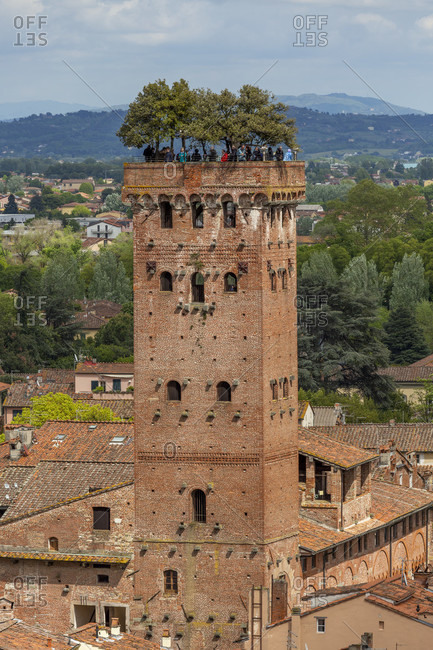 April 30, 2019: The Guini Tower (Italian: Torre Guinigi) is the most important gender tower of the city of Lucca and one of the few surviving within the city.