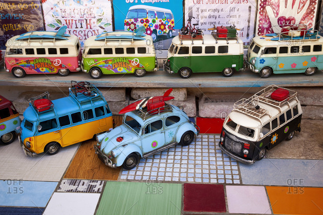 April 27, 2018: VW Beetle, VW bus, classic car, toy car, mobility