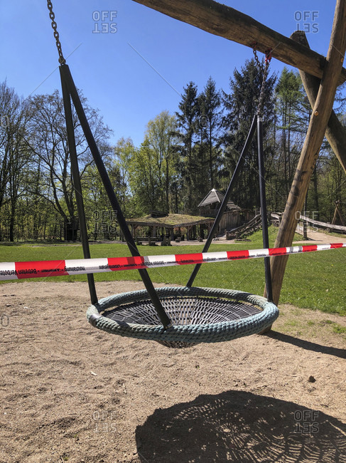 April 20, 2020: Playground, empty, closed, corona pandemic, Hamburg, Germany