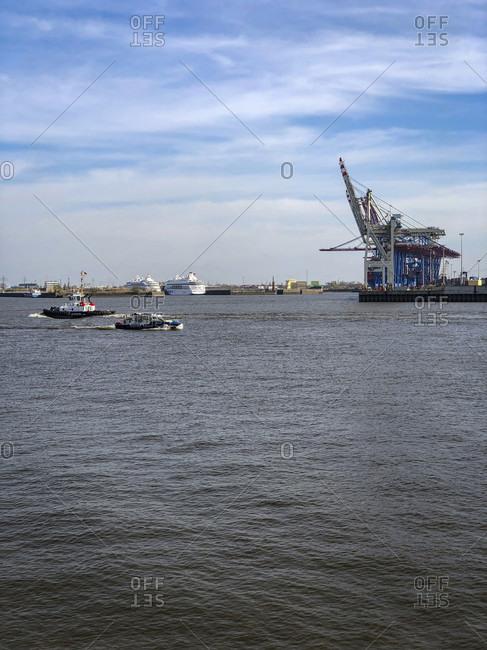 April 16, 2020: Tugboat, boat, port, Hamburg, Germany