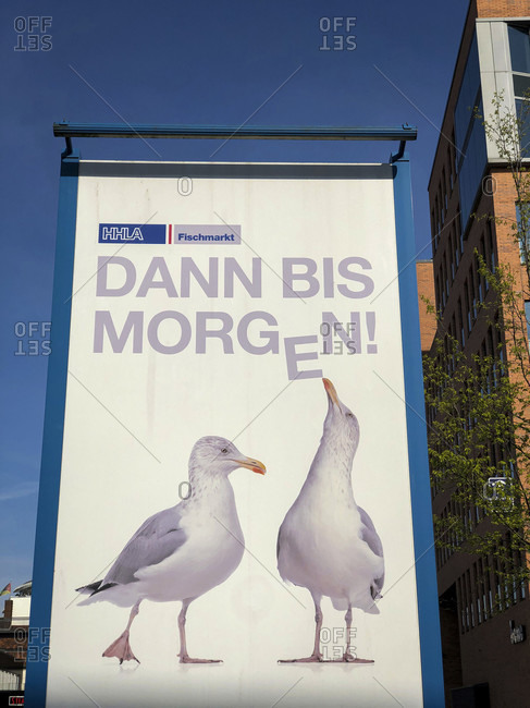 April 16, 2020: Signboard, fish market, port, Hamburg, Germany