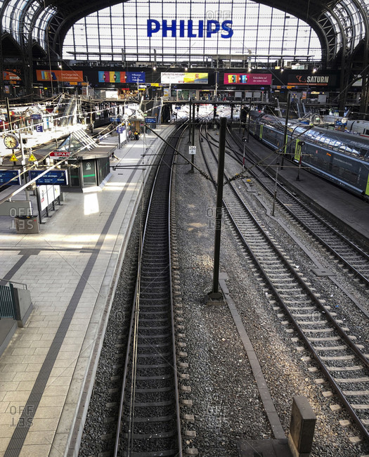 April 16, 2020: Railway station, tracks, emptiness, Hamburg, Germany