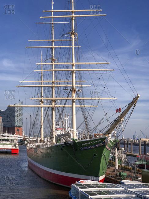 April 16, 2020: Landungsbrucken, harbor, Hamburg, Germany