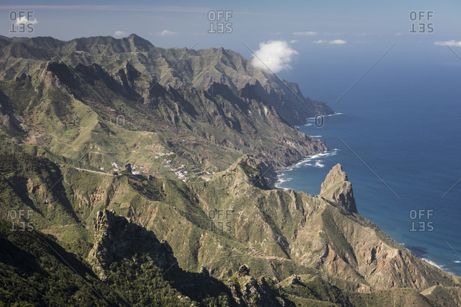 Anaga Mountains with a view of the northeast coast towards Taganana and the Atlantic Ocean, Tenerife, Canary Islands, Spain