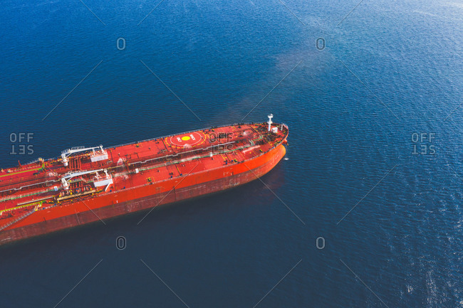 Aerial view of the big red ship, in the Saronic Gulf, Greece