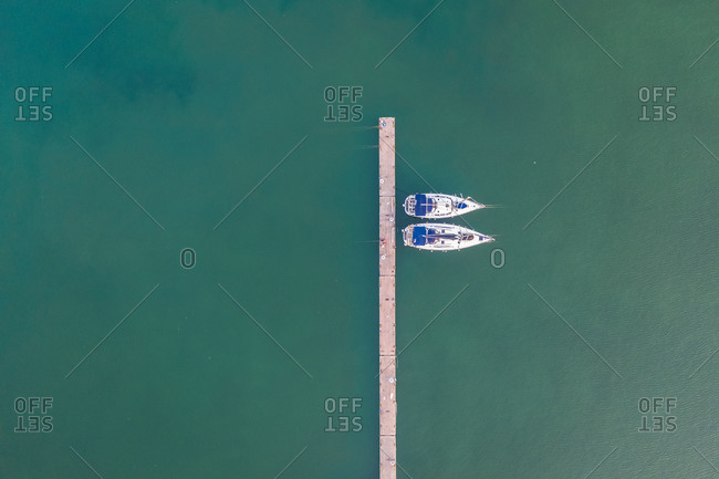 Aerial view of the wharf with couple of ships, in the Marina Alimnos, Athens, Greece
