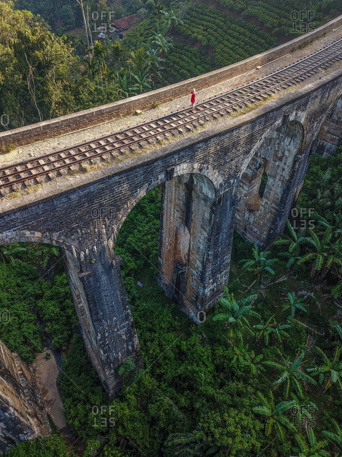 Aerial view of girl standing on the empty train bridge Nine Arch Bridge in green palm tree jungle in Ella, Sri Lanka