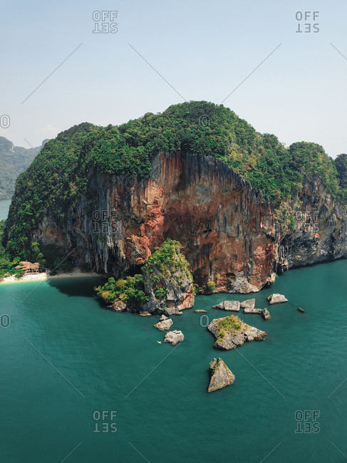Aerial view of giant limestone cliffs and islands in the turquoise blue sea, a tropical paradise, Phra Nang, Krabi, Phuket, Thailand.