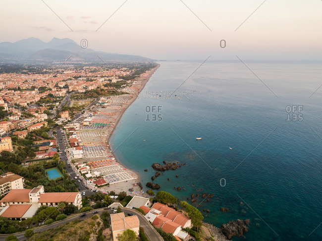 Panoramic aerial view of sea and coast of Riviera dei Cedri, Scalea, Calabria, Italy.