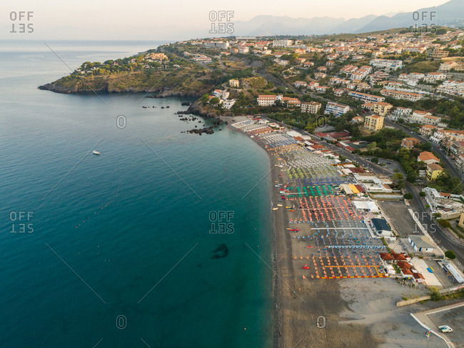 Panoramic aerial view of sea and coast of Riviera dei Cedri, Scalea, Calabria Italy.