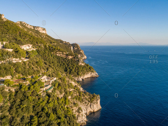 Aerial view of the Amalfi coast with cliffs, Italy.