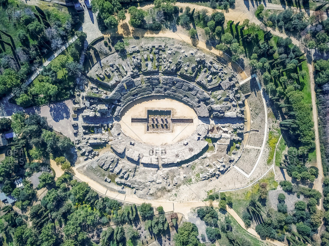 Aerial view of an archaeological site called Conjunto Arqueologico de Italica, an old Roman city in Santiponce, Sevilla, Andalusia, Spain.
