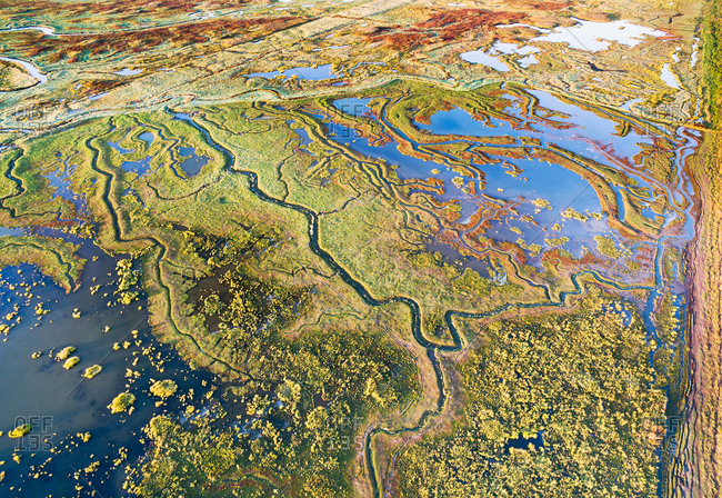 Aerial view of  swamps and streams.