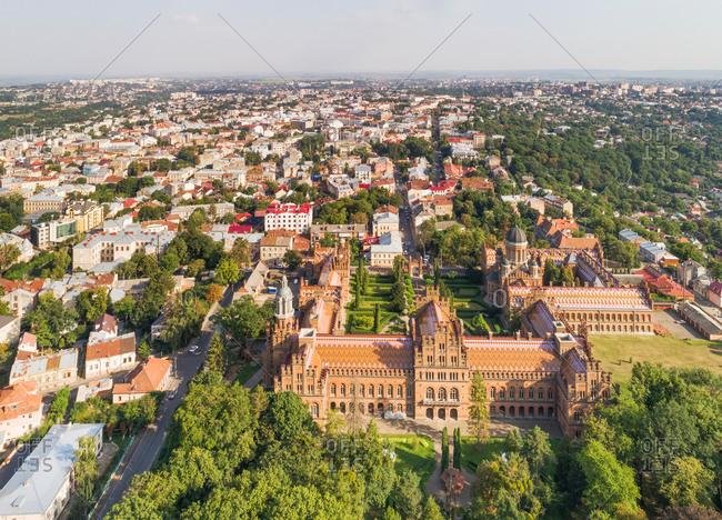 Aerial view of the city of Chernivtsi with national university building (Yuriy Fedkovych, formerly Franz-Josephs university, a UNESCO world heritage site), Ukraine