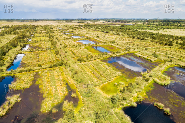 Aerial view of partly dried out lakes in peat bog, Engbertsdijksvenen, Twente, Overijssel, Netherlands