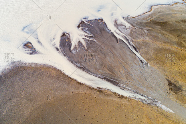 Abstract aerial view of some fingers of the lake Sandvatn in the highlands of Iceland