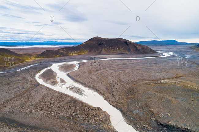 Aerial view of river Jarlhettukvisl and Jarlhettur mountains with Hagavatn mountain hut and lake Sandvatn in the highlands of Iceland