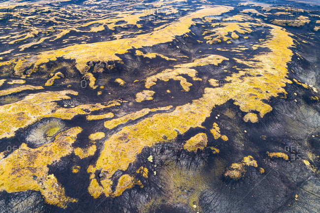 Abstract aerial view of hilly lava field covered with mosses near Hekla volcano, Iceland