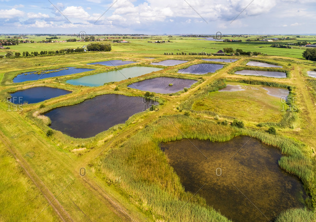 Aerial view of landscaped nature reserve Volgermeerpolder, constructed on top of a heavily polluted former waste disposal site, Noord-Holland, Netherlands