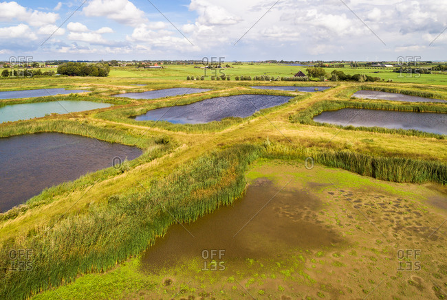 Aerial view of landscaped nature reserve Volgermeerpolder, constructed on top of a former heavily polluted waste disposal site, Noord-Holland, Netherlands