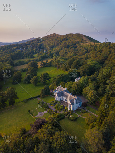 MALVERN, ENGLAND - 13TH JULY 2019 - Aerial View of British Countryside Estate in Malvern, England
