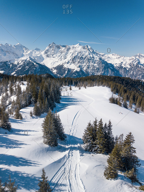 Aerial View of Typical Swiss Mountain Scene in Winter in Uri, Switzerland