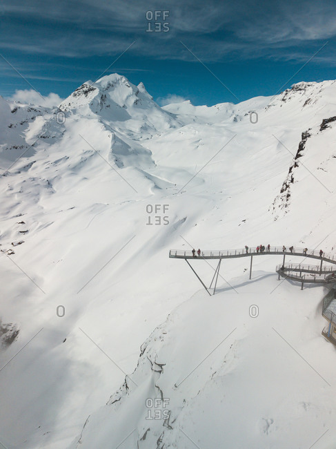 Aerial View of Viewing Platform in Swiss Alps in Winter in Grindelwald, Switzerland