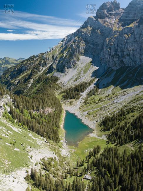 Aerial View of Typical Swiss Alpine Lake in Summer, Glarus, Switzerland