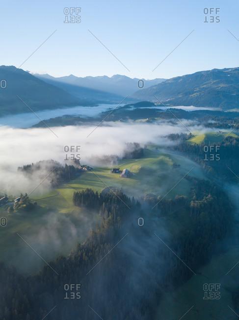 Aerial View of Fog Covered Valley in Kitzbuhel, Austria